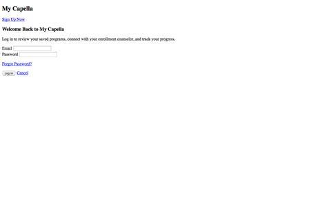 Screenshot of Login Page capella.edu - Capella Visitor Center - captured Sept. 16, 2014