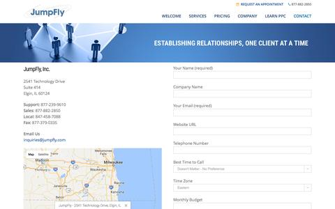 Screenshot of Contact Page jumpfly.com - Contact JumpFly - captured March 26, 2017