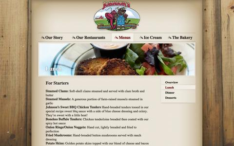 Screenshot of Menu Page eatatjohnsons.com - Lunch | Johnson's Seafood & Steak - captured Oct. 5, 2014