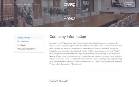 Screenshot of Press Page weebly.com - Weebly - Press and Company Info - captured Aug. 30, 2016