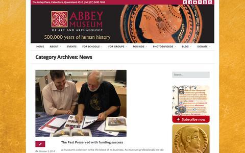 Screenshot of Press Page abbeymuseum.com.au - News | Abbey Museum - captured Oct. 9, 2014