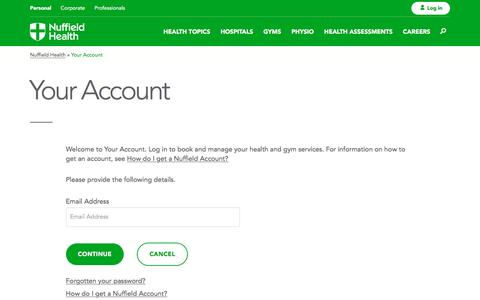 Screenshot of Login Page nuffieldhealth.com - Your Account - captured Dec. 22, 2016
