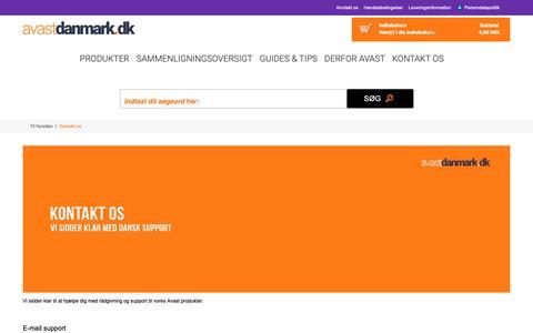 Screenshot of Support Page avastdanmark.dk - Kontakt os - captured Nov. 25, 2018