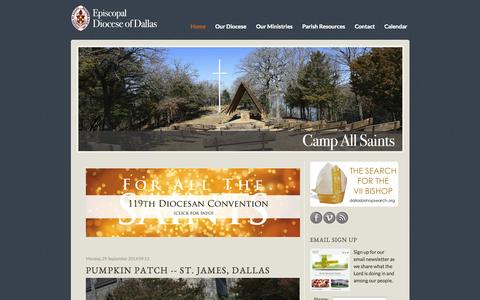 Screenshot of Home Page edod.org - The Episcopal Diocese of Dallas - captured Oct. 2, 2014