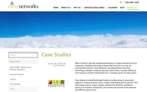 Screenshot of Case Studies Page cavunetworks.com - Case Studies | Cavu Networks - captured July 16, 2018