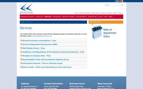 Screenshot of Services Page arubachamber.com - Services - captured Nov. 27, 2018