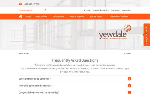 Screenshot of FAQ Page yewdale.co.uk - Frequently Asked Questions - Yewdale - captured Jan. 10, 2016