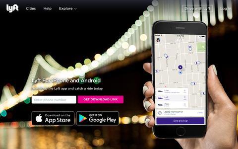 Screenshot of Landing Page lyft.com - Get the Lyft app - Lyft - captured Oct. 23, 2016