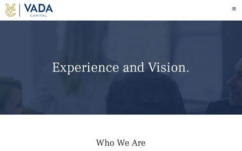 Screenshot of Team Page vadacapital.com - Experience and Vision. – Vada Capital - captured Oct. 20, 2018