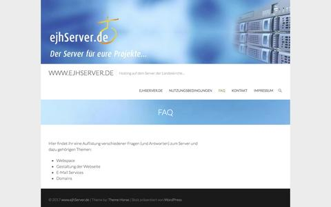Screenshot of FAQ Page ejhserver.de - FAQ – www.ejhServer.de - captured April 4, 2017