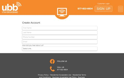 Screenshot of Signup Page utahbroadband.com - Sign Up – Utah Broadband - captured June 22, 2019