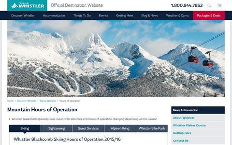Screenshot of Hours Page whistler.com - Whistler, BC Canada | Hours of Operation | Tourism Whistler - captured Feb. 15, 2016