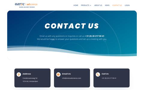 Screenshot of Contact Page ortecadscience.com - Contact Us - Ortec | adscience - Amsterdam - captured Oct. 16, 2019