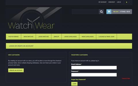 Screenshot of Login Page watchwear.com - Customer Login - captured Nov. 28, 2016