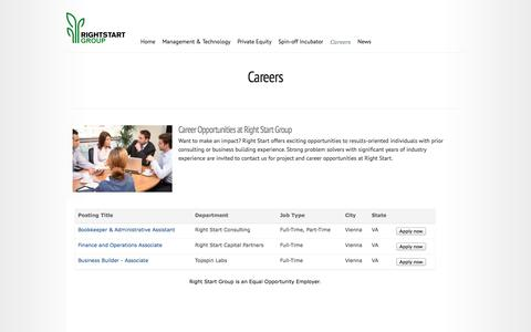 Screenshot of Jobs Page rightstartinc.com - Careers | Right Start Group - captured Oct. 26, 2014