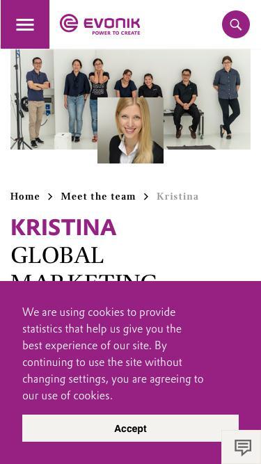 Screenshot of Team Page  evonik.com - Kristina                                                                - Evonik Careers