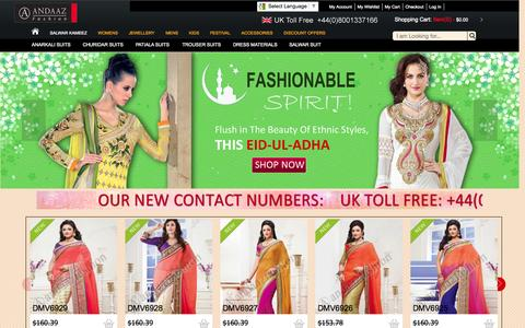 Screenshot of Home Page andaazfashion.com - Salwar Kameez Online ,Anarkali Suits, Pakistani and Indian Dress,Women Sarees - captured Sept. 19, 2014