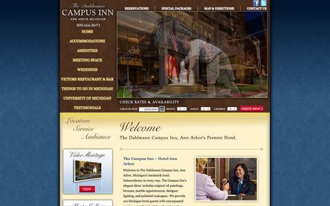 Screenshot of Home Page campusinn.com - Ann Arbor Hotels, University of Michigan Luxury Hotel - The Dahlmann Campus Inn, Ann Abor, Michigan - captured Oct. 5, 2014