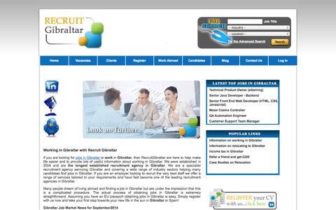 Screenshot of Home Page recruitgibraltar.com - Finding work in Gibraltar | Jobs in Gibraltar | Working in Gibraltar - captured Sept. 30, 2014