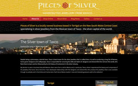 Screenshot of About Page piecesofsilver.com.au - silver jewellery from the mexico - captured Dec. 9, 2015