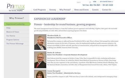 Screenshot of Team Page primax.us - Experienced Leadership | Primax - captured Sept. 30, 2014