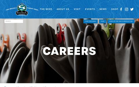 Screenshot of Jobs Page switchbackvt.com - Careers — Switchback Brewing Company - captured Nov. 29, 2018