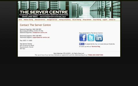 Screenshot of Contact Page server-centre.net - The Server Centre - Contact us - captured Oct. 9, 2014
