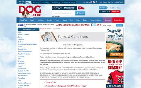 Screenshot of Terms Page dog.com - Terms & Conditions - Dog.com - captured Sept. 19, 2014