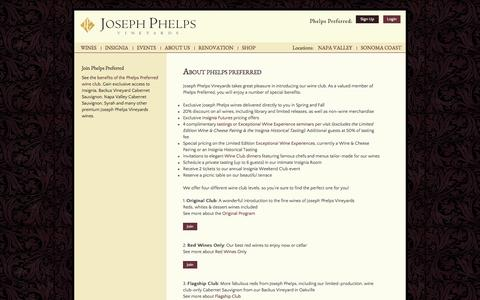 Screenshot of Signup Page josephphelps.com - About Phelps Preferred :  Joseph Phelps Vineyards - captured Nov. 3, 2014