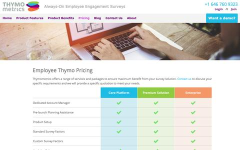 Screenshot of Pricing Page thymometrics.com - Pricing of Thymometrics - captured Feb. 16, 2016