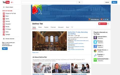 Screenshot of YouTube Page youtube.com - DaVinci Tek  - YouTube - captured Oct. 23, 2014