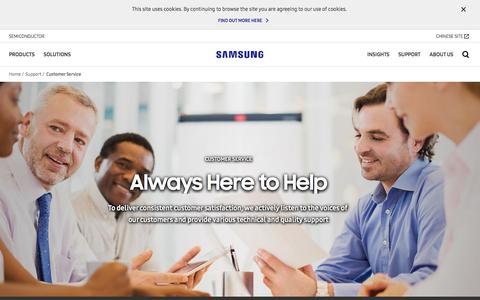 Screenshot of Support Page samsung.com - Customer Service - Quality Support   Samsung Semiconductor   Samsung Semiconductor Global Website - captured July 13, 2018