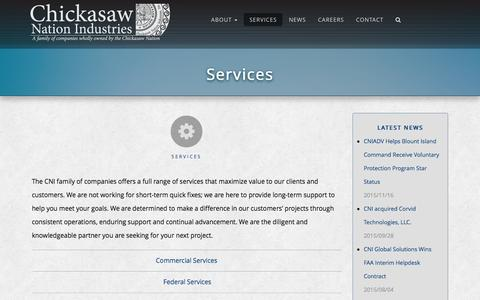 Screenshot of Services Page chickasaw.com - Services | Chickasaw Nation Industries - captured Jan. 27, 2016