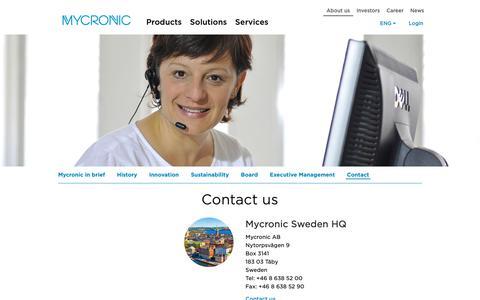 Screenshot of Support Page mycronic.com - EMEA - captured May 16, 2019