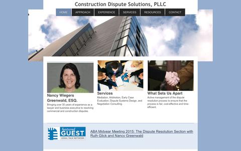 Screenshot of Home Page construction-dispute-solutions.com - Construction Dispute Resolution Services, PLLC - HOME - captured Aug. 24, 2017