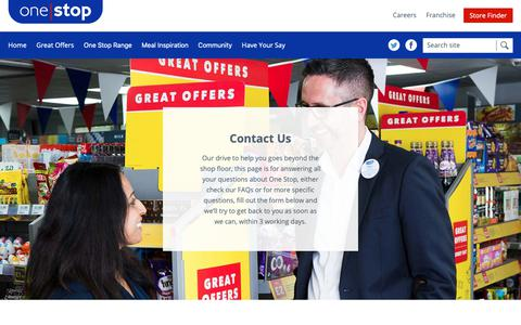 Screenshot of Contact Page onestop.co.uk - One Stop stores - Get in touch - Our phone number, email and address - captured Oct. 18, 2018