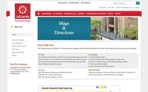 Screenshot of Maps & Directions Page laguardia.edu - LaGuardia Community College - captured Nov. 13, 2016