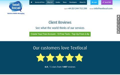 Screenshot of Testimonials Page textlocal.com - Textlocal Client Reviews - Mobile Messaging Service Feedback - captured Oct. 10, 2014