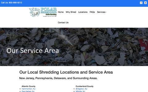 Screenshot of Locations Page polarshredding.com - Polar Shredding - Our Locations - captured Nov. 28, 2016