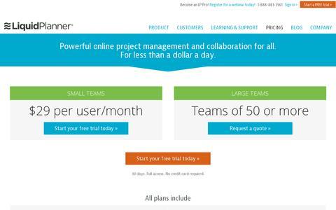 Screenshot of Pricing Page liquidplanner.com - LiquidPlanner Pricing - captured July 21, 2014