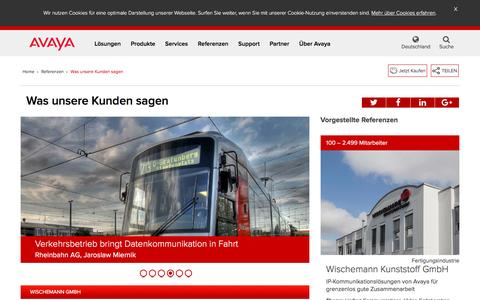 Screenshot of Testimonials Page avaya.com - Was unsere Kunden sagen - Referenzen - Avaya Deutschland - captured May 26, 2016