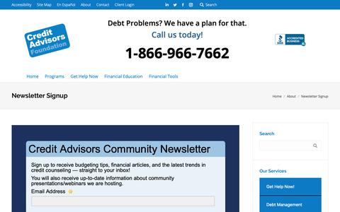 Screenshot of Signup Page creditadvisors.org - Newsletter Signup - Credit Advisors - Credit Help, Debt Relief, Credit Counselors - captured Sept. 29, 2018