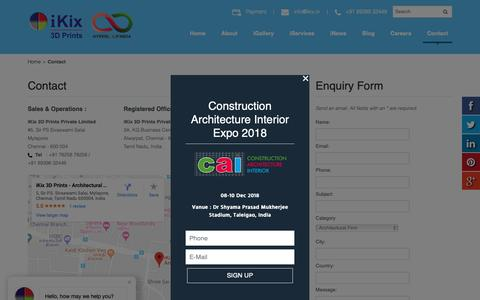 Screenshot of Contact Page ikix.in - Contact | iKix | 3D Printing Services in India - captured Oct. 13, 2018
