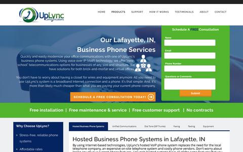 Screenshot of Products Page uplync.com - Business Phone Systems | Lafayette, IN | UpLync Communications - captured Dec. 19, 2016