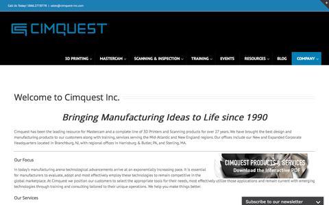 Screenshot of About Page cimquest-inc.com - About Cimquest – Cimquest Inc., Manufacturing Solutions - captured Jan. 17, 2018
