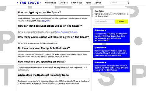 Screenshot of FAQ Page thespace.org - FAQ - The Space - captured Sept. 19, 2014