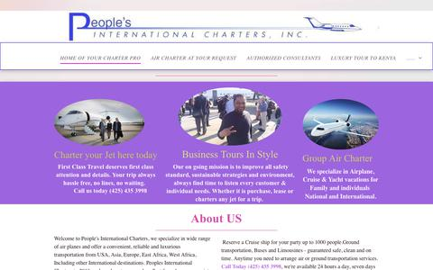 Screenshot of Home Page peoplesaviation.net - home of your charter pro - captured Sept. 27, 2018