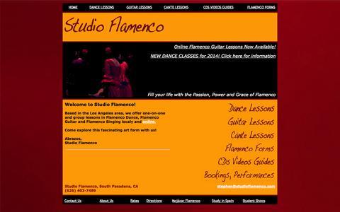 Screenshot of Home Page studioflamenco.com - Studio Flamenco Home Page - captured Oct. 9, 2014