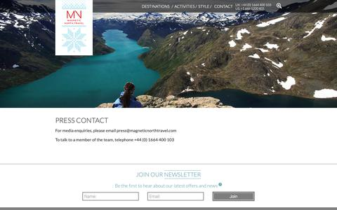 Screenshot of Press Page magneticnorthtravel.com - Press contact - captured Oct. 2, 2018