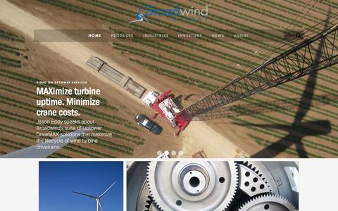 Screenshot of Home Page bwen.com - Broadwind Energy - captured Oct. 2, 2014